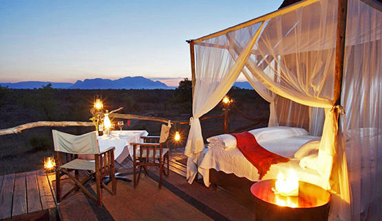 Kapama honeymoon safari sleep-out.
