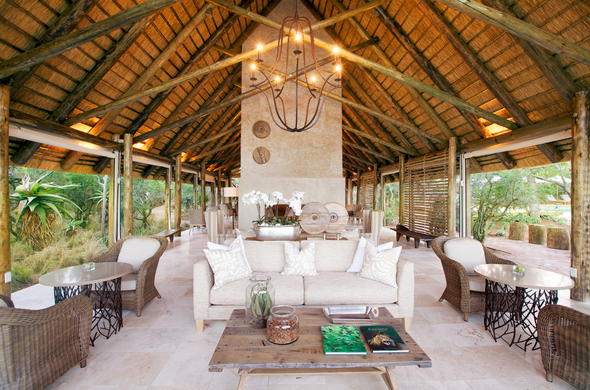 The stunning open guest lounge at Kapama Southern Camp.